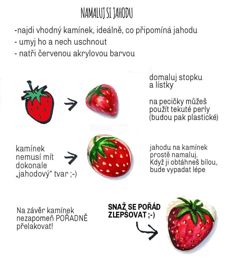 Jak si namalovat jahodu na kamínek