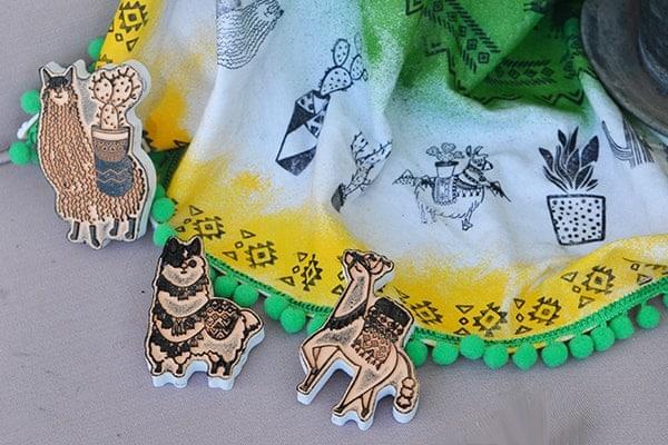 Textilní razítka Lamy a kaktusy